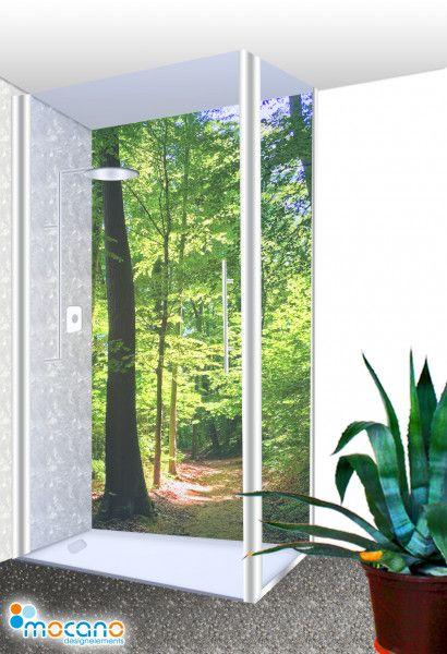 Bad Ideen Waldoptik Duschruckwand Als Dusche Fliesenspiegel Im Badezimmer Duschruckwand Duschwand Dusche