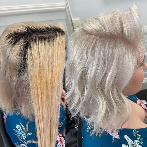 When your client wants to be platinum but they have used dark brown box dye and then bleached their hair--five times--to remove it, the struggle is real. But here's what you can do to overcome and level up. Blonde Box Dye, Toner For Blonde Hair, Blonde Hair At Home, Bleach Blonde Hair, Hair Toner, Brown To Blonde Balayage, Dye My Hair, Best Blonde Toner, Best Box Hair Dye