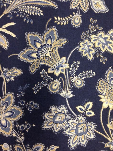 Beautiful Navy Blue White And Wheat Floral Fabric A Beautiful Navy And White Floral Fabric This Floral Upholstery Fabric Floral Upholstery Upholstery Fabric