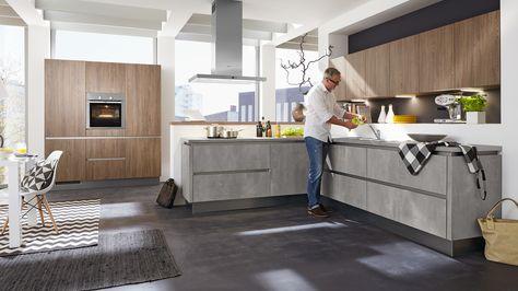 Culineo G205 grifflos Oxidbeton   G107 grifflos Barrique Eiche - alno küchen grifflos