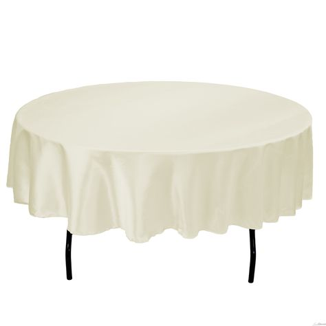 90 in Round Satin Tablecloth / Overlay Ivory at LinenTablecloth.com