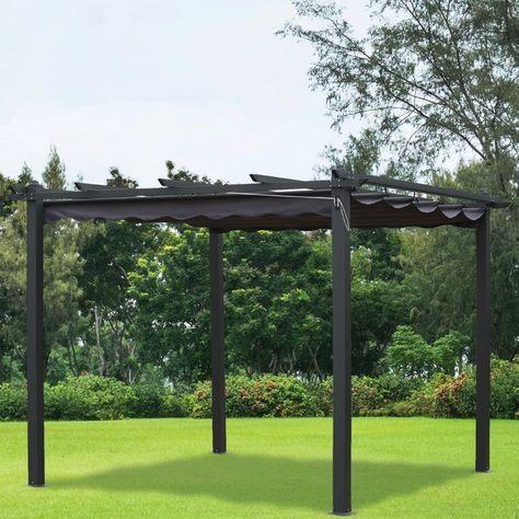 3m X 3m Charcoal Pergola Summer Garden Gazebo Garden Outdoor