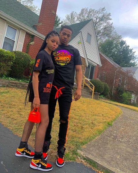 Freaky Relationship Goals Videos, Black Relationship Goals, Couple Goals Relationships, Cute Black Couples, Black Couples Goals, Cute Couples Goals, Matching Couple Outfits, Matching Couples, Pretty Black Girls