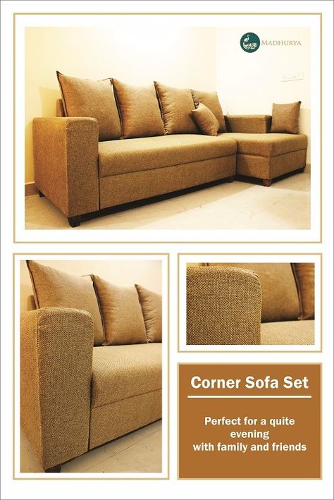 Graceful Sofa In Jute Fabric Adds Immense Sophistication To Any Corner Of The House Madhurya Furniture Corner Sofa Set Furniture Online Furniture