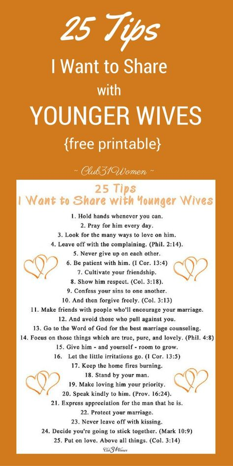 25 Tips I Want to Share With Younger Wives - free printable