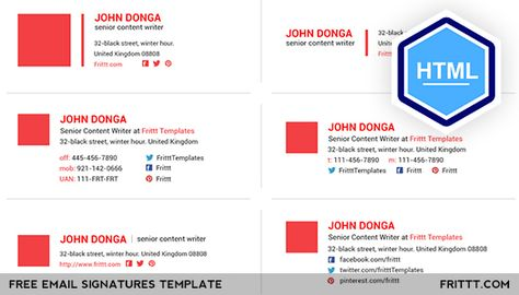 Free Email Signatures Html Template On Behance