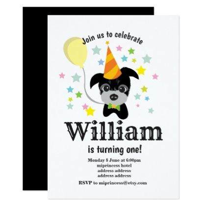 Cute 6 Doggie Birthday Note Cards party,