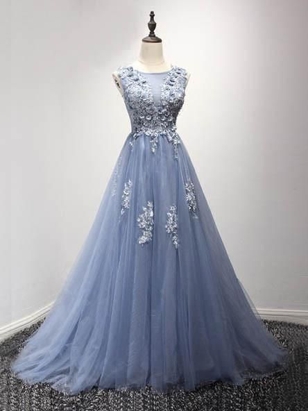 Corset Back Dusty Blue Lace Evening Prom Dresses Popular Lace Party Prom Dresses Custom Long Prom Dresses Cheap Formal Prom Dresses 17189 Lavender Prom Dresses A Line Prom Dresses Lace Evening Dresses