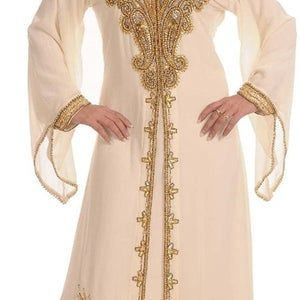 Dubai Moroccan Floor Length Islamic Modern Elegant Arabic party Wear Bell Sleeve Beach kaftan Farasha Maxi Dresses Takshita Var