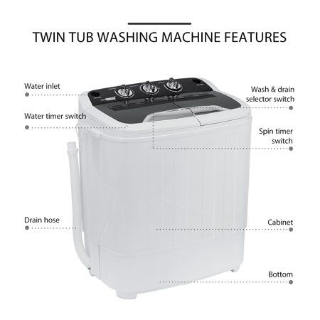 Vivohome Mini Laundry Washer And Dryer Combo Washing Machine 2 In 1 Walmart Com Washer Laundry Washing Machine Twin Tub