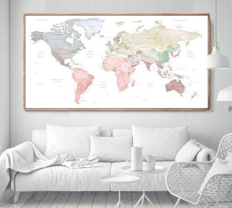 World Map Poster | world map wall art, 2018 | Extra Large ... on map art diy, basketball party pinterest, summer arts and crafts pinterest, map art print, map art design, map art tumblr, alice in wonderland cake pinterest, map art flowers, map art love, map art google,