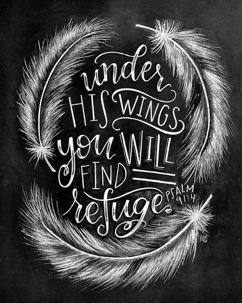 ♥ He will cover you with his feathers, and under his wings you will find refuge; his faithfulness will be your shield and rampart. - Psalm 91:4 ♥ ♥ L I S T I N G ♥ Each image is originally hand drawn with chalk and converted digitally. Chalkboard prints maintain the authenticity and dust of the original drawing smudge free. All prints are printed on Deep Matte Fujicolor Crystal Archive Professional Paper. ♥ F R A M I N G ♥ Frame in front of the glass of your frame for a more realistic chalk...