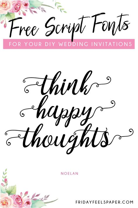 Wedding Program 20 Free Script Fonts For Your DIY Wedding Invitations - Friday Feels Paper - FInd the perfect free script fonts for your DIY printable wedding invitation template, homemade card or scrapbook layout. Diy Wedding Invitations Templates, Beach Wedding Invitations, Wedding Invitation Templates, Invites, Invitation Fonts, Wedding Stationary, Wedding Fonts, Wedding Ideas, Wedding Venues