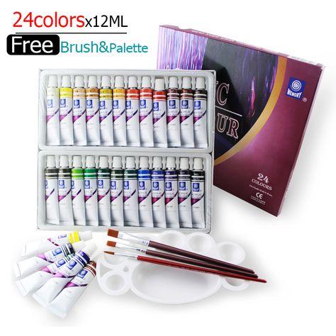 Water Resistant 24 Colors 12ml Tube Acrylic Paint Set Color