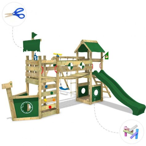 Ahh this pirate ship is so cool! Wickey: Climbing frame StormFlyer with swing