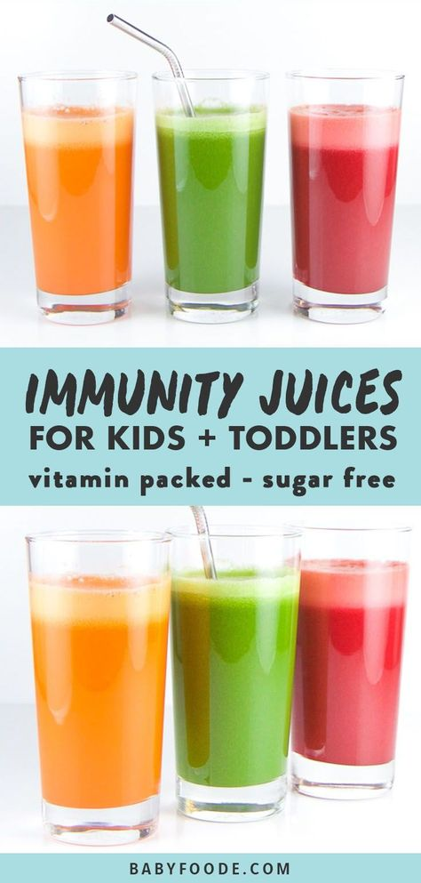 Orangetastic Ginger Juice These three immunity boosting juice recipes are fully loaded with nutrients to help boost your kiddos immunity. Healthy, easy and totally tasty, your kids and toddlers will love these vegetable juice combinations! Detox Diet Drinks, Natural Detox Drinks, Healthy Juice Recipes, Smoothie Detox, Juicer Recipes, Fat Burning Detox Drinks, Healthy Detox, Healthy Juices, Juice Smoothie