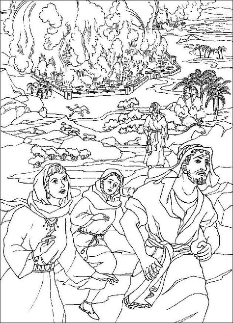 Sodom En Gomorra Abraham And Lot Coloring Pages Bible Coloring