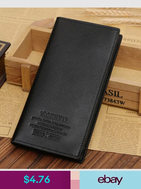 Hot!!Men/'s Leather Long Wallet Pockets ID Card Clutch Cente Bifold Purse BROWN