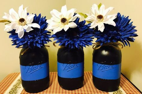 Thin blue line, police, police officers, mason jar, country, rustic, decor, heroes, hero, law enforc