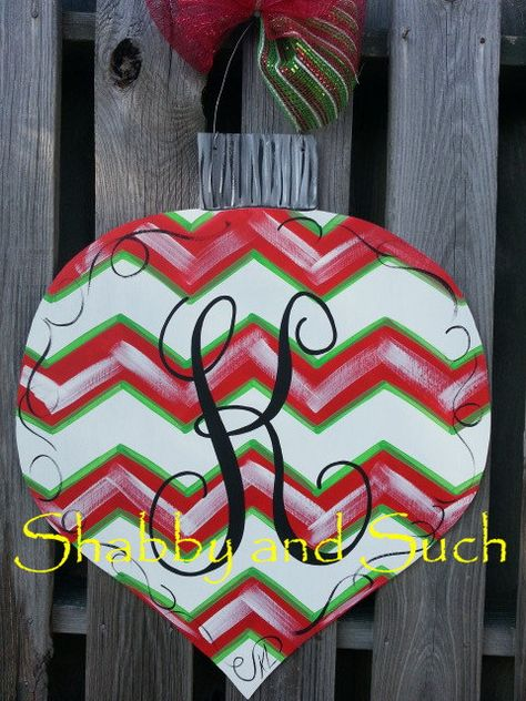 Chevron Ornament Door Hanger Handpainted Wood Includes Personalization