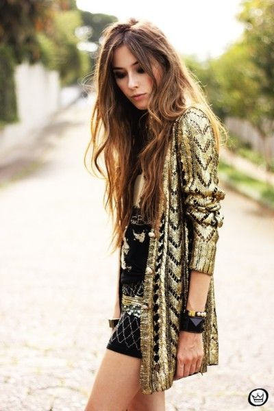 Fashioncoolture - Look Du Jour Golden Romwe Cardigan Studded