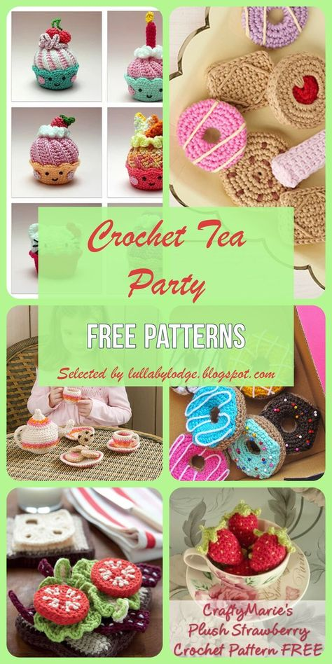Crochet a tea party for your little one with these free crochet patterns selected by Lullaby Lodge. Biscuits, cupcakes, sandwiches, donuts, strawberries and more. Toys Patterns play food Crochet Tea Party - Free patterns selected by Lullaby Lodge. Cupcake Crochet, Crochet Food, Crochet Gifts, Crochet Kawaii, Cute Crochet, Crochet For Kids, Crochet Bear, Crochet Animals, Crochet Amigurumi Free Patterns