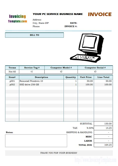Bill Format For Computer Repair Service Computer Repair Services Invoice Template Invoice Template Word