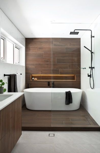 Shower In Bath Area Bathroom Freestanding Modern Bathroom Modern Bathroom Design