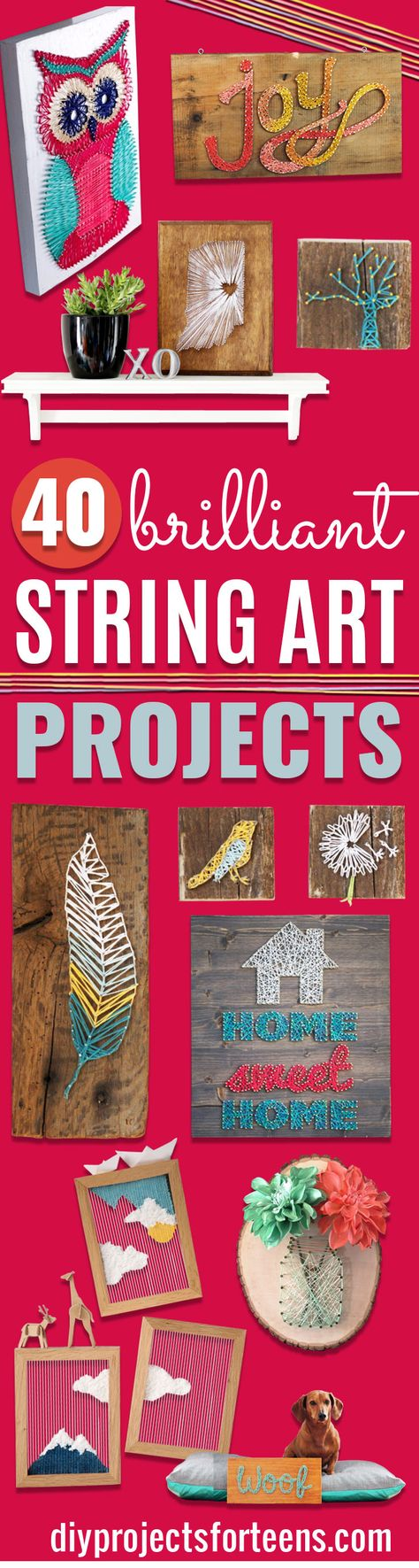 DIY String Art Projects - Cool, Fun and Easy Letters, Patterns and Wall Art Tutorials for String Art - How to Make Names, Words, Hearts and State Art for Room Decor and DIY Gifts - fun Crafts and DIY Ideas for Teens and Adults http://diyprojectsforteens.com/diy-string-art-projects