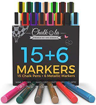 Chalk Markers Metallic Colors Pack Of 21 Neon Chalk Pens For Chalkboard Whiteboard Blackboard Window Labels Bist Chalk Markers Chalk Pens Neon Chalk