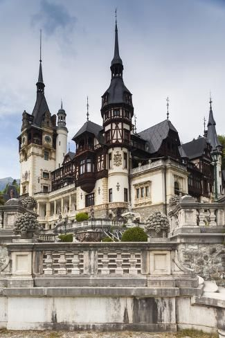 Photographic Print: Romania, Transylvania, Sinaia, Peles Castle, Built by Walter Bibikow : Beautiful Castles, Beautiful Places, Draculas Castle Romania, Gothic Castle, Victorian Castle, Gothic Mansion, History Of Romania, Peles Castle, Underground Bunker