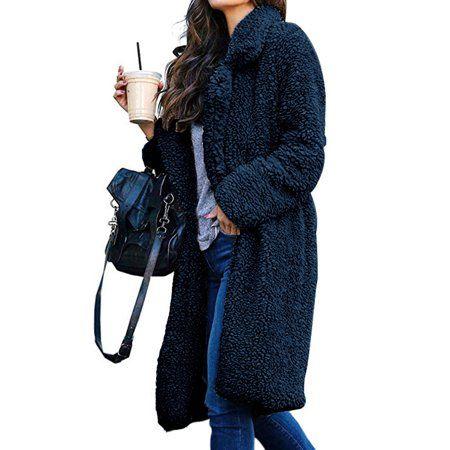 NEW DANCE Womens Faux Fur Coat Long Sleeve Winter Parka Outwear