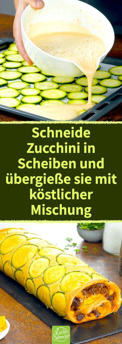 Mit diesem einfachen Rezept verwandelst du Zucchini, Hackfleisch, Cheddar und Eier in eine hübsche, herzhafte Rolle, die dich geschmacklich überzeugen wird – versprochen! #zucchini #hackfleisch #cheddar