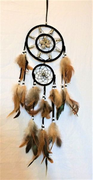 24 IN LARGE RAINBOW BLACK DREAMCATCHER new dreams decor feathers beads webbed