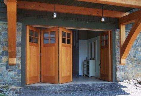 Bifold Garage Door Ideas 17 Ideas For 2019 In 2020 Garage Door Design Wooden Garage Doors Garage Doors