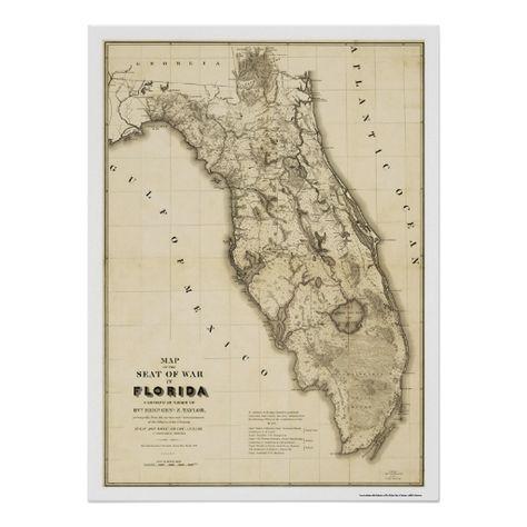 Seminole War Florida Map 1839 Poster Maps