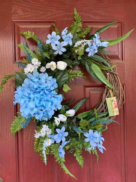 Beautiful Spring Floral Wreath Summer Wreath Farmhouse | Etsy