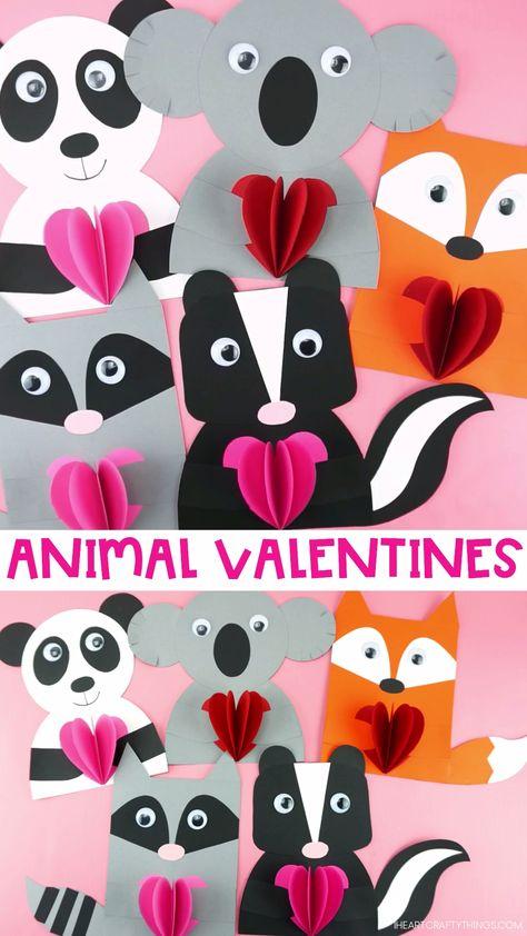 Adorable Valentine Animal Crafts for Kids -Koala, Panda, Skunk, Fox and Raccoon