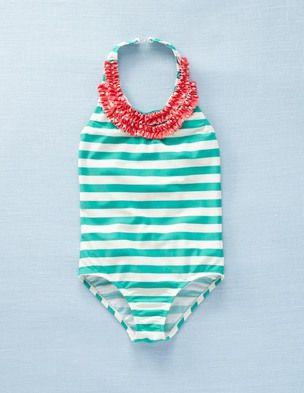 Girls swimsuit - emerald stripes by Mini Boden
