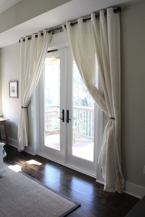 Home Tour Seaside Florida Beach House Decor - French Doors with Curtains Sliding Door Curtains, French Door Curtains, Patio Door Curtains, French Doors In Bedroom, Patio Door Coverings, Sliding Door Window Treatments, French Door Decor, French Door Coverings, Glass Door Curtains
