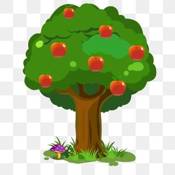 Hand Drawn Cartoon Tree Material Apple Tree Clipart Hand Painted Hand Drawn Plants Png And Vector With Transparent Background For Free Download In 2021 Floral Wreath Watercolor Cartoon Trees How To