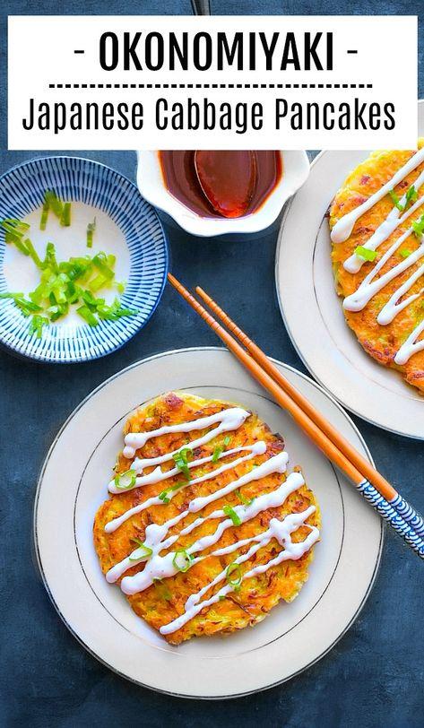 Okonomiyaki - Japanese Cabbage Pancakes Okonomiyaki - Japanese Cabbage Pancakes recipe - How to make Japanese Cabbage Pancakes: Cabbage Recipes, Japanese Dinner, Japanese Street Food, Asian Recipes, Mexican Food Recipes, Healthy Recipes, Healthy Food, Healthy Japanese Recipes, Japanese Recipes