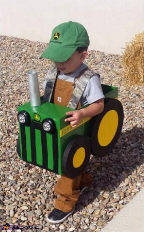 This is my son Lucas his costume is inspired by his love for tractors. I used a diaper box for the body, Styrofoam for the wheels, felt for decals, a paper towel roll for the exhaust and LED lights for the head lights (they really. Photo 5 of Homemade Halloween Costumes, Halloween Costume Contest, Family Halloween Costumes, Holidays Halloween, Halloween Kids, Halloween Crafts, Farm Costumes, Zombie Costumes, Halloween Couples