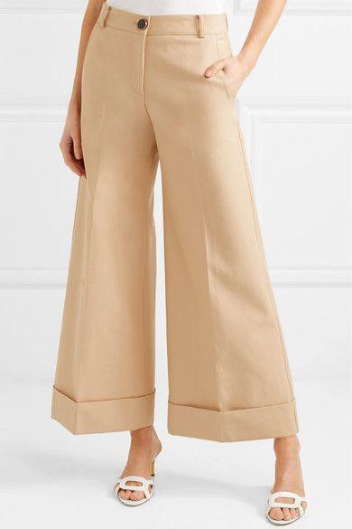 Carine Cotton-twill Wide-leg Pants - Beige Khaite D80Jm7i