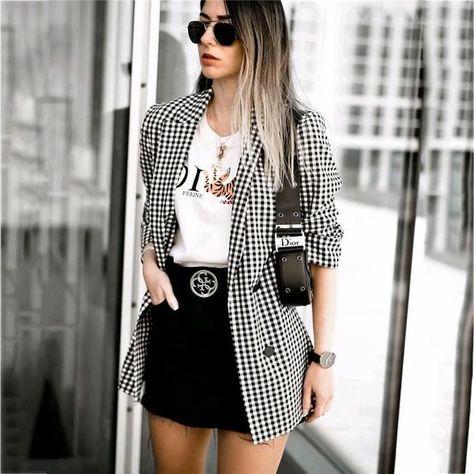 Women elegant black white plaid blazer jacket Three Quarter sleeve Pocket decoration office wear female outerwear chic tops