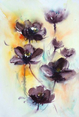 Aquarelle Cosmos Chocolat C Flower Art Watercolor Flowers