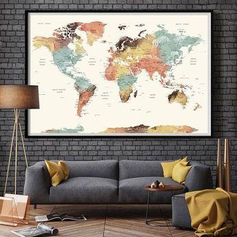 World Map Wall Art World Map Push Pin Large Watercolor Wall