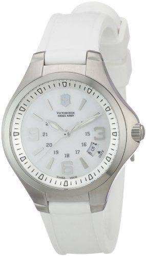 Victorinox Swiss Army Women's 241487 Base camp Mother of Pearl Dial Watch Victorinox Swiss Army. Save 23 Off!. $289.00. Water-resistant to 100 M (330 feet). Mother of pearl dial. Stainless steel case. White rubber strap. Quartz movement