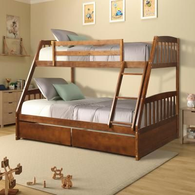 Harper Bright Designs Walnut Solid Wood Twin Over Full Bunk Bed With 2 Storage Drawers Sh000092aad The Home Depot Bunk Beds Bed Storage Drawers Twin Over Full Bunk Bed Solid wood bunk bed twin over full