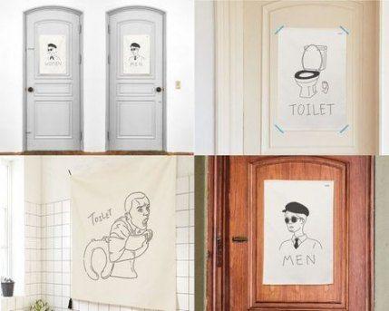 25 Ideas Toilet Door Poster For 2019 Door Funny Bathroom Art Textile Wall Hangings Toilet Door